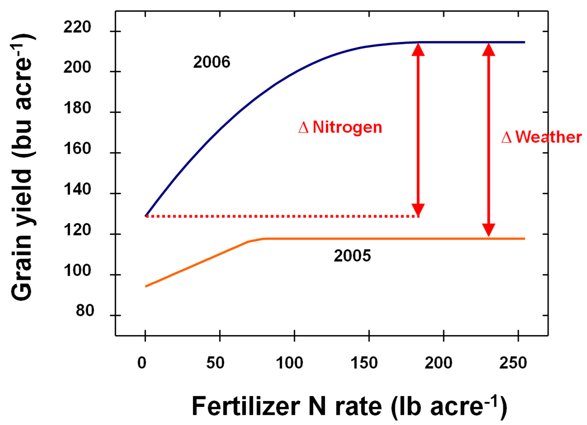 Interaction of weather and nitrogen